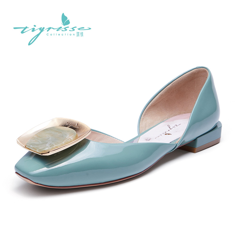 Tsyi Autumn 2009 Painted Marble Square Button Square Head Hollow Flat sole Single Shoe TA09114-12