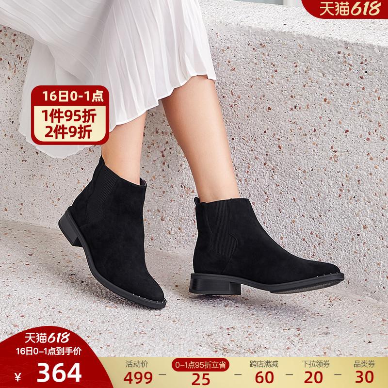 ts蹀愫冬新款牛皮裸靴经典切尔西靴低跟加绒短靴女TA09730-11