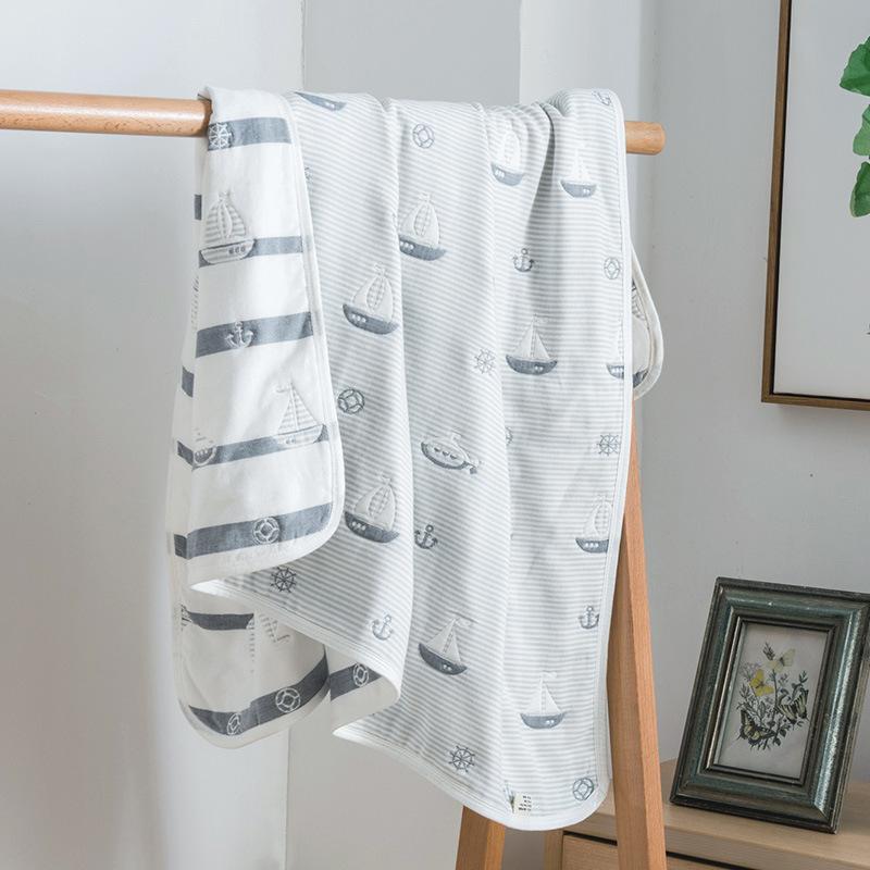 限时2件3折纯棉宝宝新生洗澡6层纱布被子浴巾