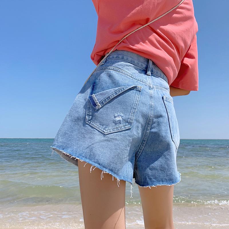 特大码适合胯大腿粗的牛仔短裤潮 超胖大码女裤夏装新款2020流行