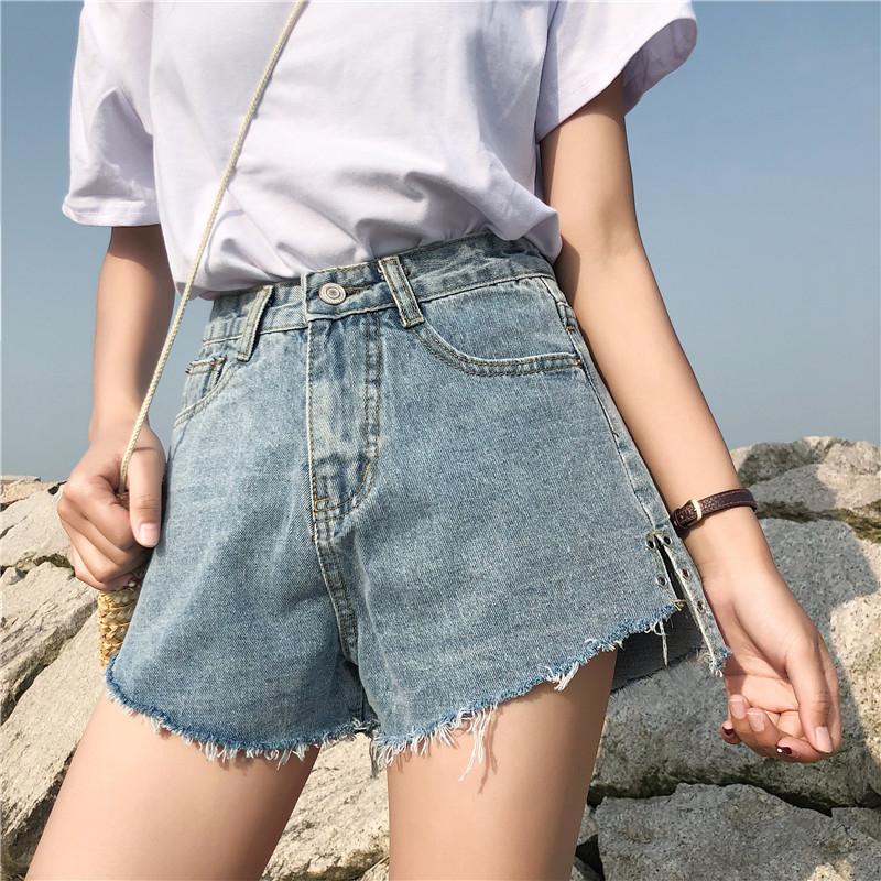 大码牛仔短裤女胖mm宽松阔腿裤 胖妹妹热裤200斤高腰显瘦韩版百搭