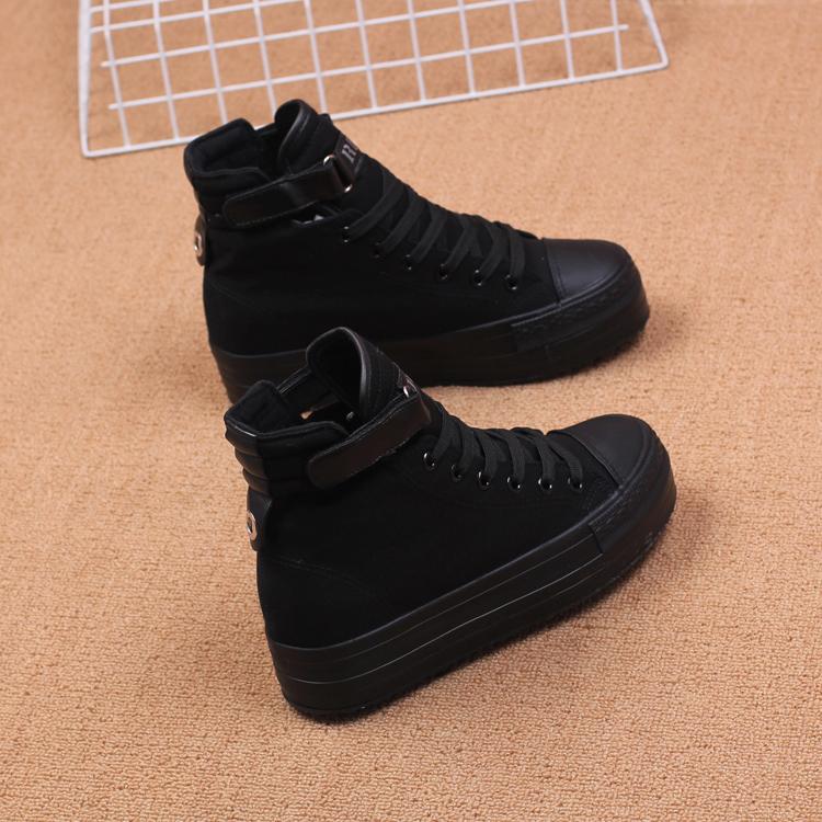 人本3213春全黑高帮厚底帆布鞋工装鞋女 舒适透气内增高休闲鞋女