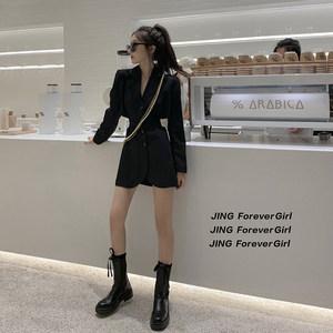 张景亦西装外套女初秋新款韩版收腰显瘦气质黑色后露腰心机西装裙