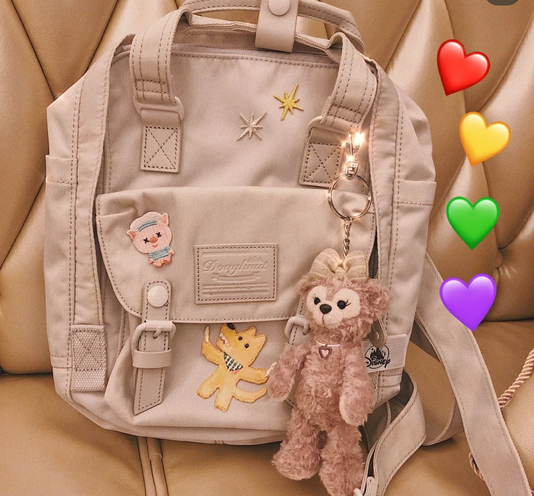 Embroidered doughnut backpack Female Student Backpack junior high school high school college schoolbag large capacity travel bag