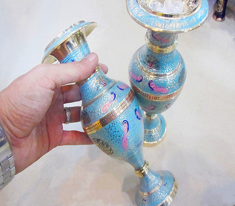 印度进口铜器花瓶手工工艺品民族铜雕民族特色工艺新品包邮