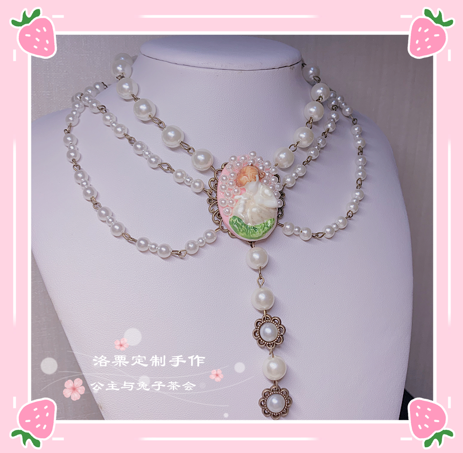 Original product = Princess and rabbit = Lolita gorgeous tea party multi layer pearl necklace palace cla