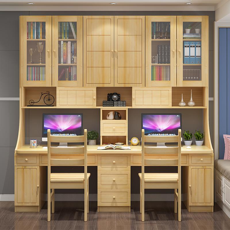 超大型の新型の木の松木の2人のコンピュータのテーブルの書棚の組み合わせは学習机の書写の机の授業の机と椅子を組み合わせます。