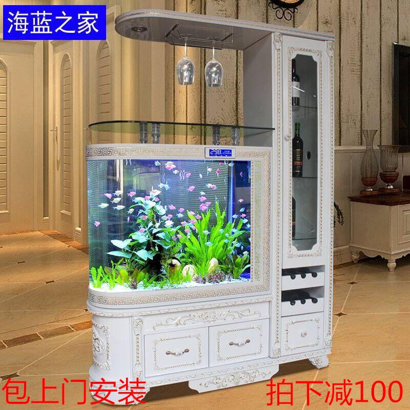 欧式子弹头玻璃鱼缸鞋柜隔断客厅家用酒柜创意中大型底过滤免换水