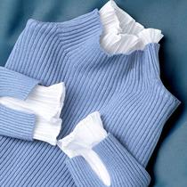 蕾丝领打底毛衣加厚套头假两件高领荷叶弹力修身针织衫女上衣秋冬