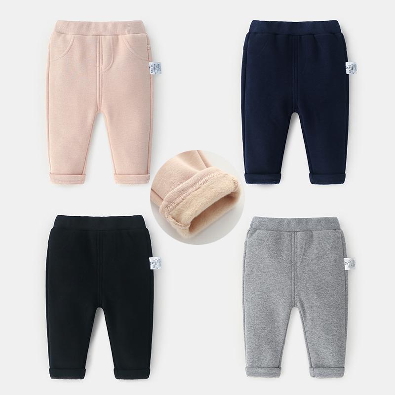 蓓莱乐男婴儿童裤子4个月女宝宝秋冬9女童2018新款1岁0加绒休闲裤