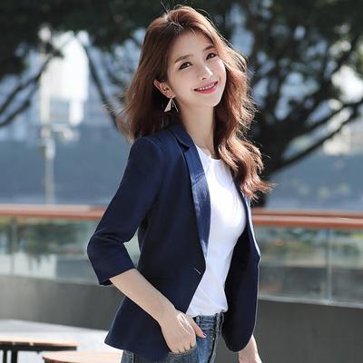 亚麻小西装外套女短款2020夏季韩版修身棉麻七分袖薄款休闲小西服