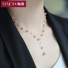 Heidi Jewelry Purple Glow Bright Starry Freshwater Pearl Necklace 18K Gold Clavicle Chain Qixi Gift
