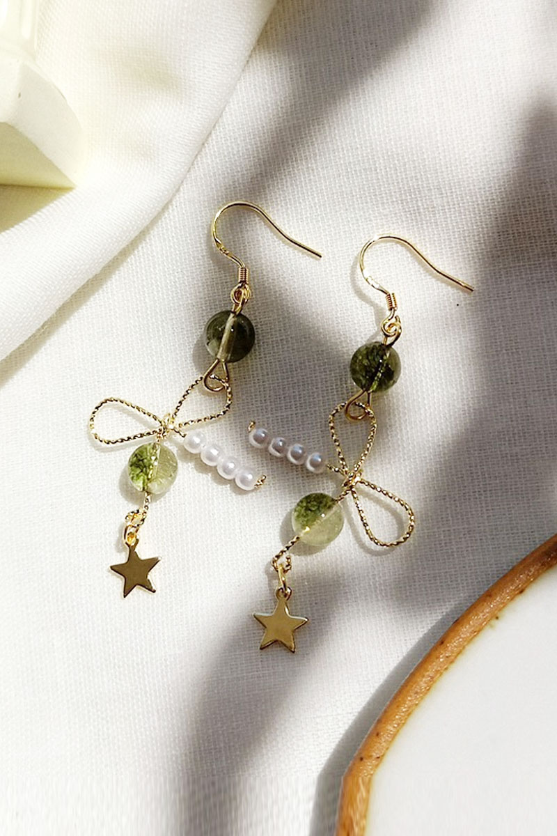 Green ghost Crystal Earrings female 925 silver needle super immortal clavicle chain set forest small fresh natural stone ear clip