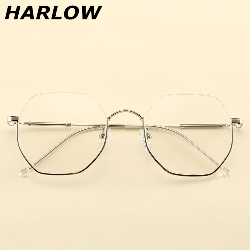 Kính nửa khung thứ hai nam và nữ thủy triều cận thị kính retro retro kính nam và nữ không đều lưới kính đỏ - Kính râm