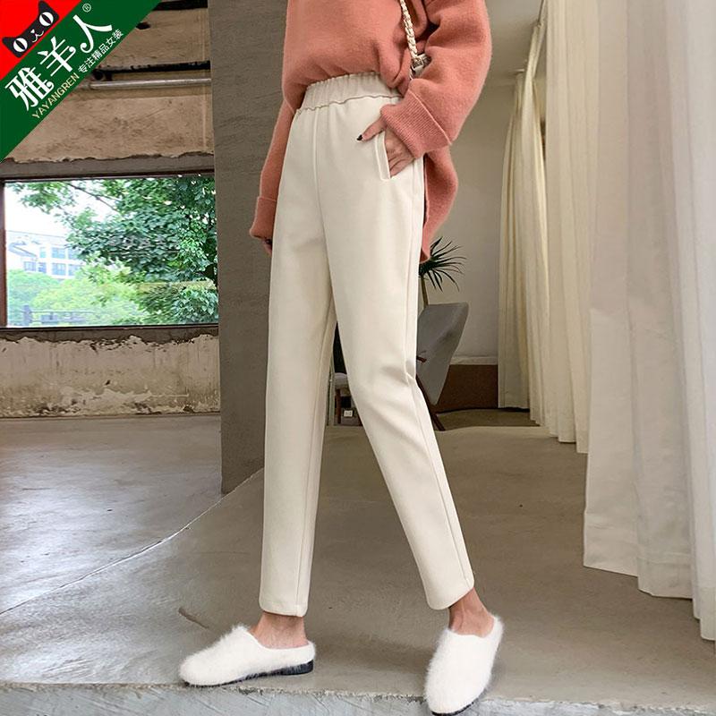 毛呢哈伦裤女裤秋冬季2019新款宽松直筒显瘦萝卜小脚休闲奶奶长裤
