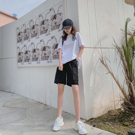 五分工装短裤女宽松2020年新款夏季薄款高腰5分休闲运动中裤潮ins