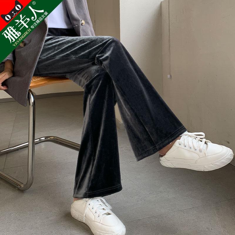 金丝绒阔腿裤女裤子秋冬季灯芯加绒高腰垂感宽松直筒拖地丝绒长裤图片
