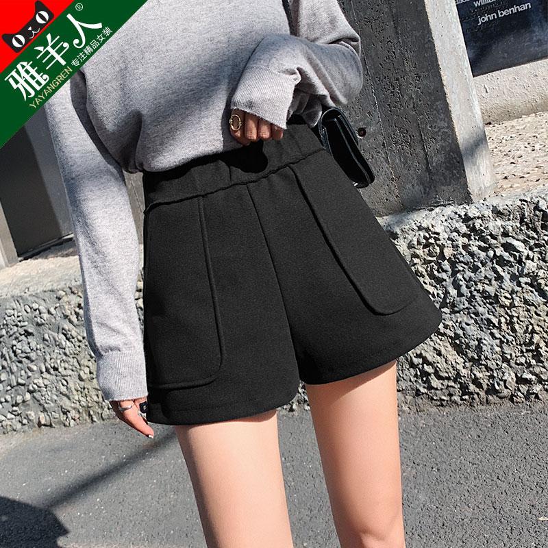 毛呢短裤女秋冬季2020年新款春秋款外穿高腰黑色百搭显瘦打底裤裙