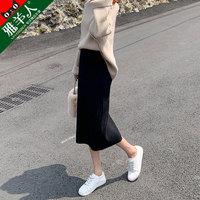 针织半身裙女春秋冬季2019新款高腰中长款黑色开叉一步包臀长裙子