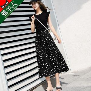 半身裙女2020新款夏季波点高腰显瘦春秋雪纺中长款碎花夏天长裙子