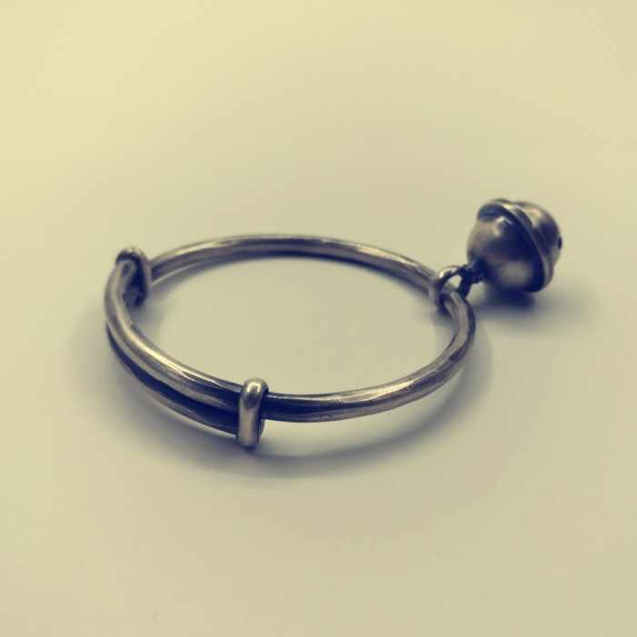 Fashion retro old bell national style push pull 99 Zuyin handmade original private custom pure silver bracelet