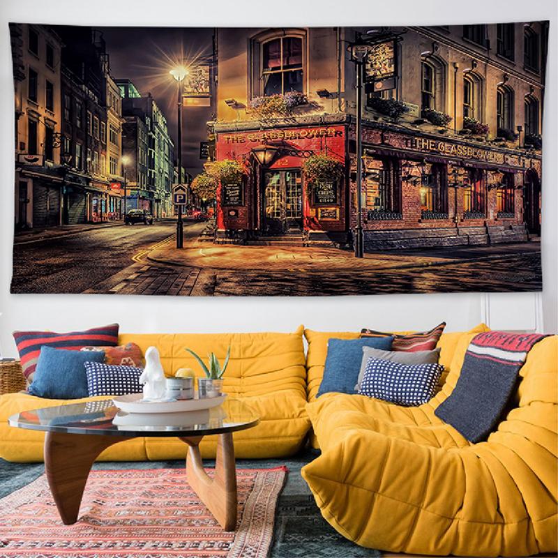 ins挂布3米欧美城市客厅宾馆酒楼装饰墙布摄影背景布卧室拍照挂毯11-07新券