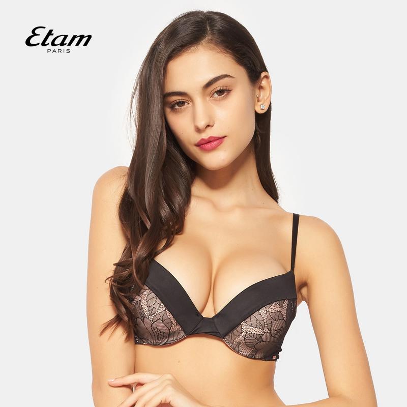 艾格内衣Etam春季黑色性感蕾丝拼色聚拢文胸