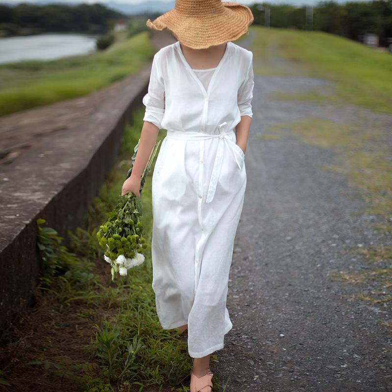 夏子小姐 夏款亚麻薄麻纯苎麻开衫V领单排扣系带宽松防晒连衣裙女