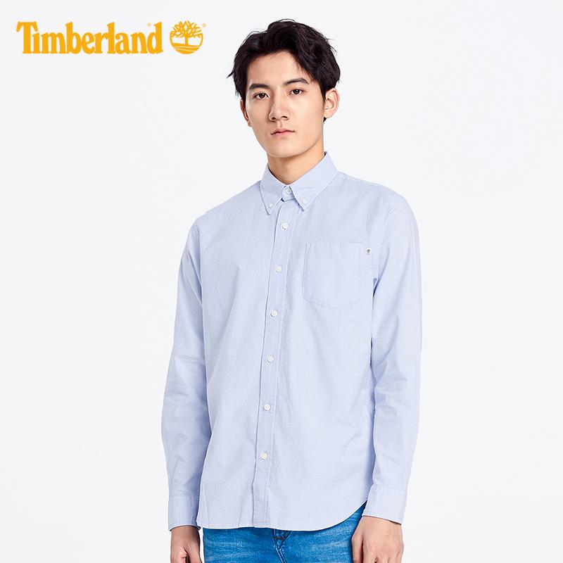 Timberland添柏岚男装19春装新款牛津纺标准弹力长袖衬衫|A1WNK