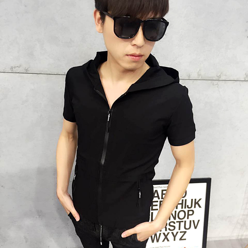 2017 summer fast hand Kwai Tong, the same short sleeved male tide hero short sleeved body sweater, Hooded Hoodie Jersey.
