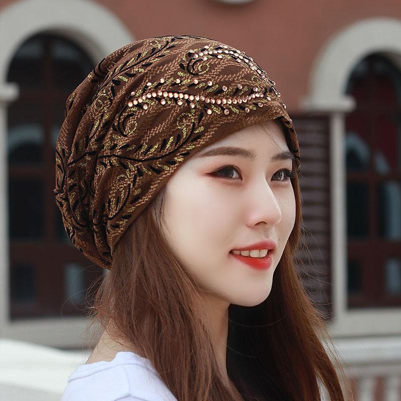 韩版头巾帽秋天蕾丝水钻透气光头帽