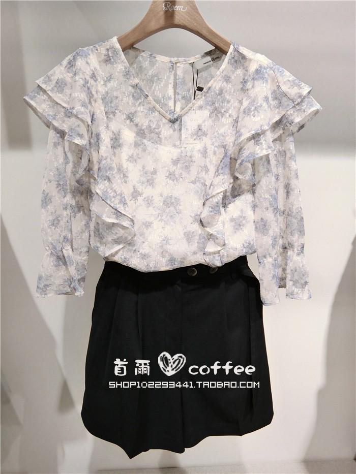 韩国专柜代购ROEM20夏女装韩版新款淑女花色雪纺衬衫RMBLA36R41