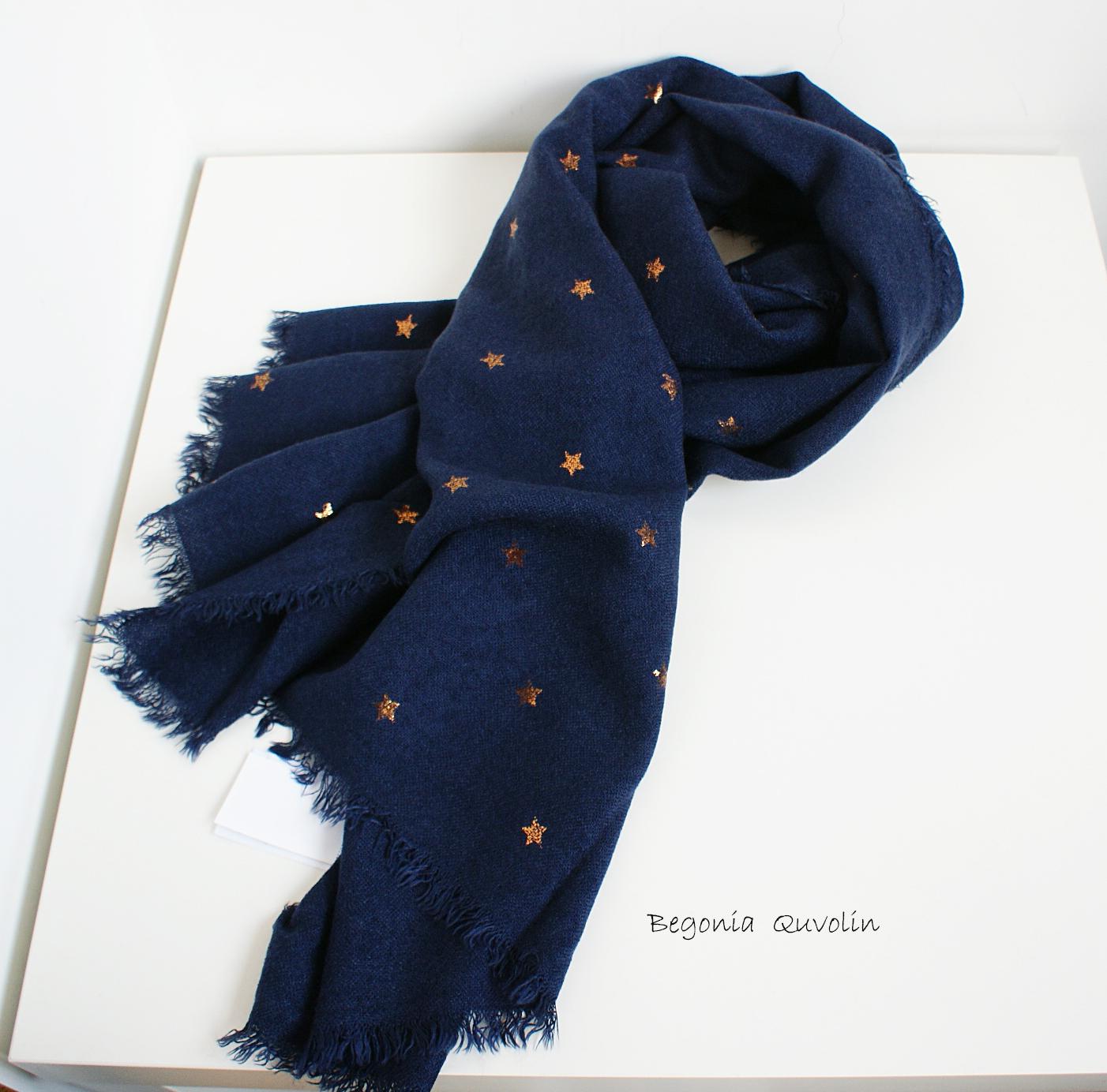 2020出口精工星星蓝黑色烫金流苏仿羊绒羊毛日韩长款冬季围巾披肩