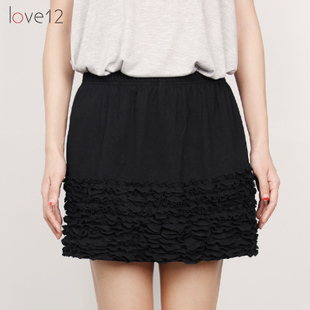 Korean version of the new autumn and winter women wood ear stretch lace skirt petticoat inside the ride bottoming skirt cotton skirt
