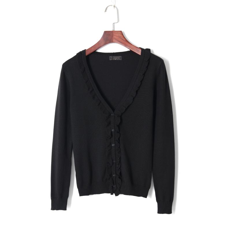 Autumn commuter basic womens pure black cardigan sweater