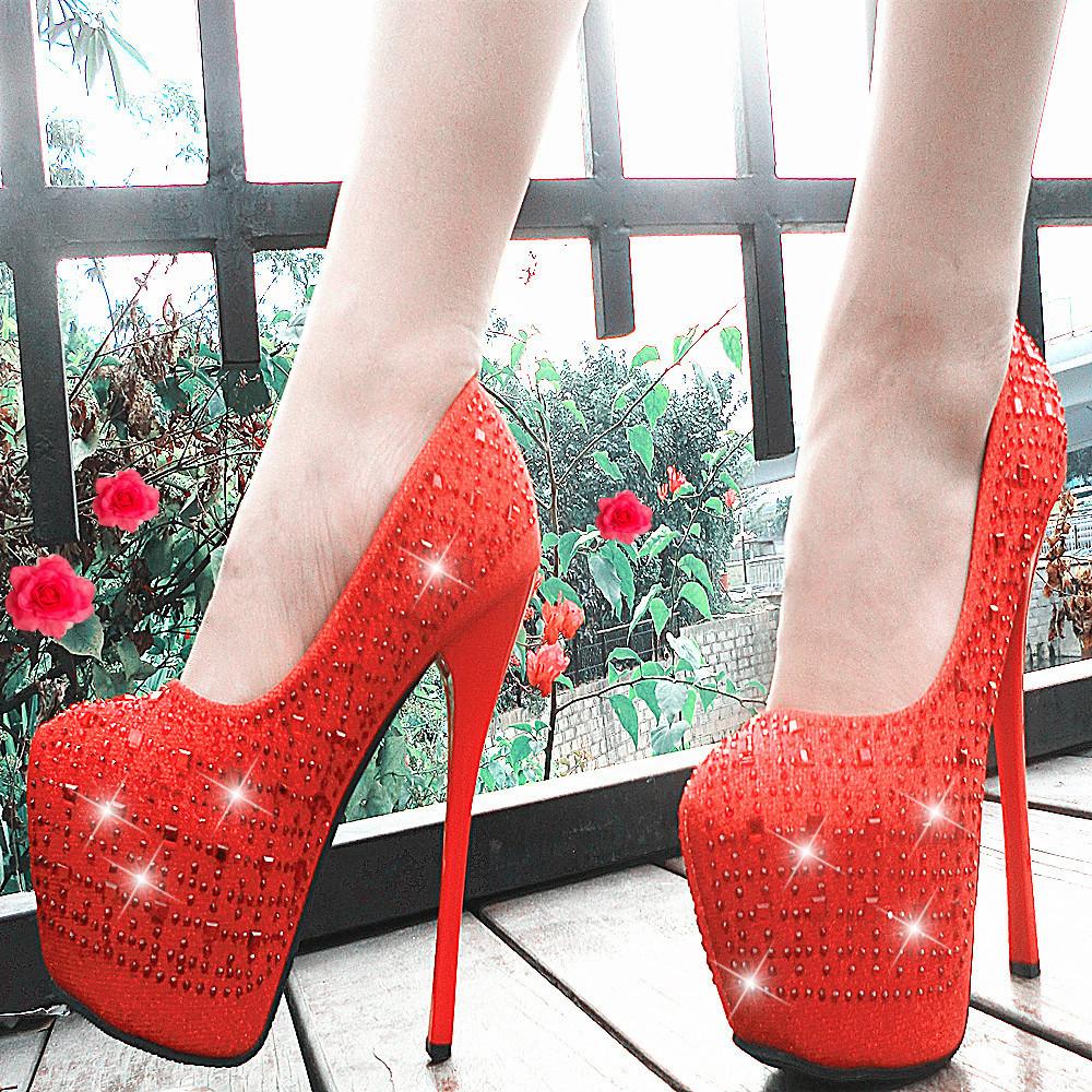 水钻婚鞋红色新娘鞋防水台细跟圆头浅口细跟超高跟16cm恨天高女鞋