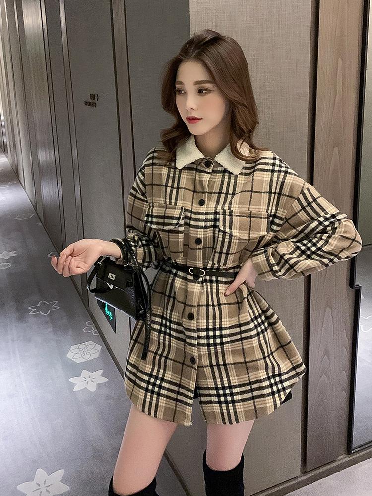 11.25新品 0點上新韓版寬松系帶收腰格子設計感襯衣E11436