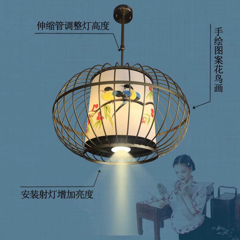 鸟笼灯新中式吊灯铁艺复古创意餐厅灯 酒店客栈过道火锅店吊灯具