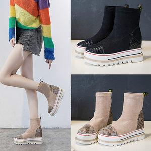 秋冬松糕厚底内增高7.5cm女靴单靴青年学生黑色米色女鞋加绒棉靴