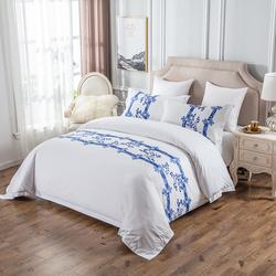 酒店宾馆床上用品四件套民宿专用60支床尾巾贡缎床单被套套件批发