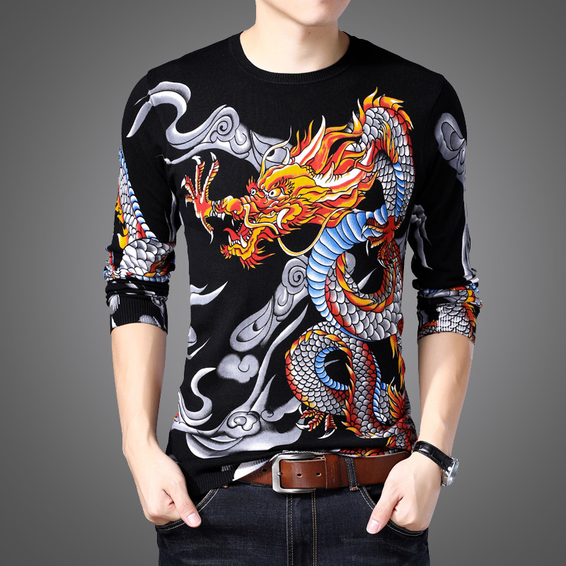 Autumn new mens sweater long sleeve printed T-shirt with dragon pattern