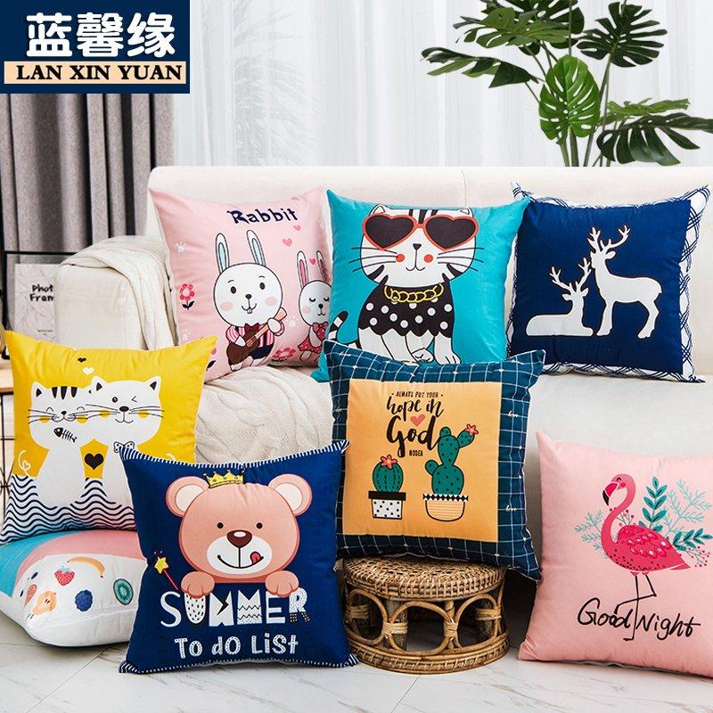 简约卡通图案抱枕靠垫沙发办公室床上靠背垫腰枕床头抱枕套含芯