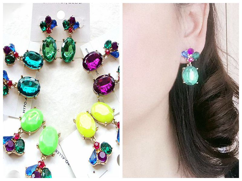 European and American Jewelry foreign trade original single versatile personality gem Earrings female temperament Earrings special price