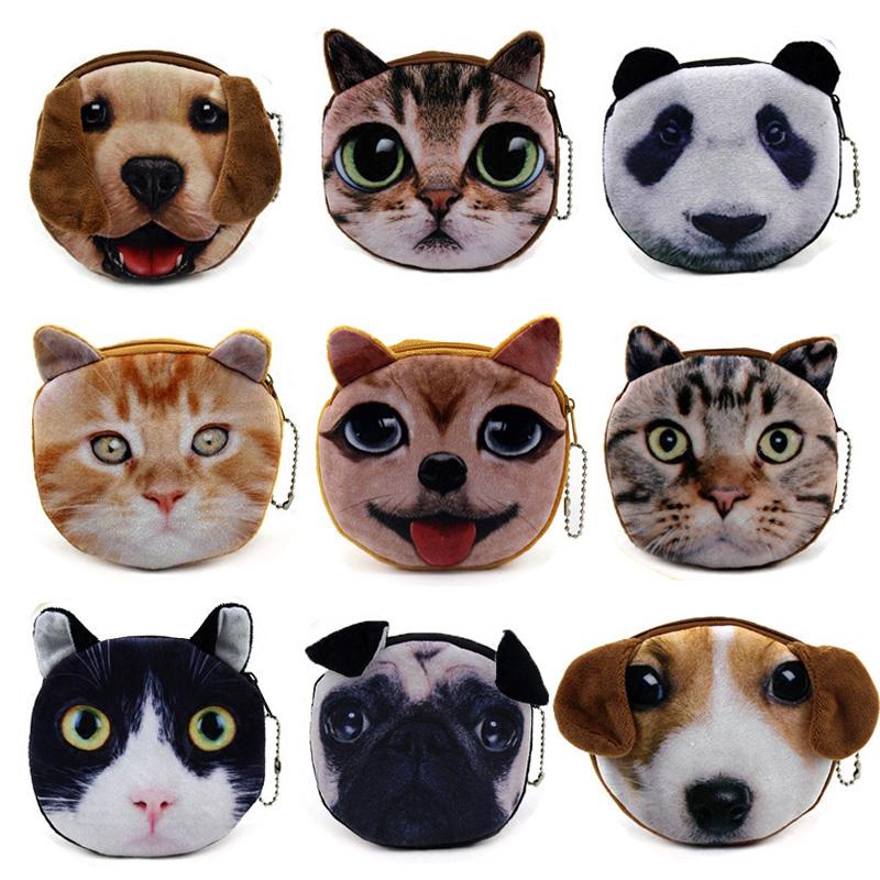 Новые кошачьих плюшевые собаки кошки ткани шарики изменить пакет наушники включают 3D HD Ван Син мужчин бумажник