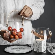 包邮ZA北欧家居装饰玻璃收纳罐花瓶烛台水果零食收纳PU提手