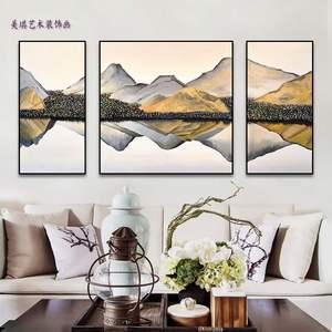 新中式風景山水畫抽象客廳三聯畫組合手繪裝飾畫家居飾品手繪油畫