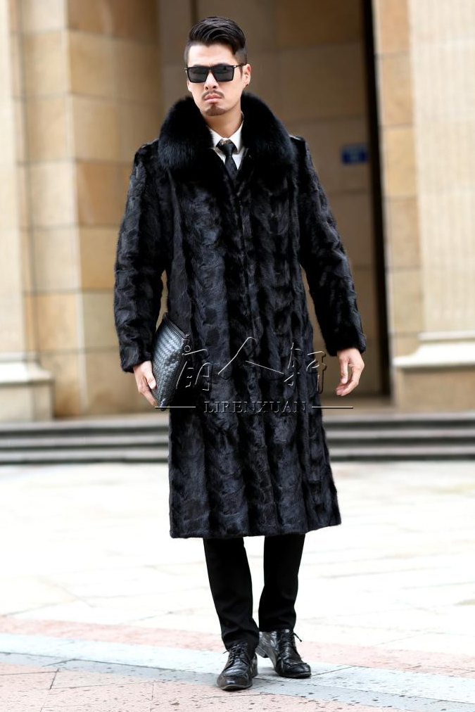 Custom mens mink fur fur coat coat fur coat mens wear extended mink fur one piece fox collar
