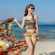 European shark swimsuit women's three-piece sexy national fashion suit high waist cover belly show thin gather hot spring Korean bikini