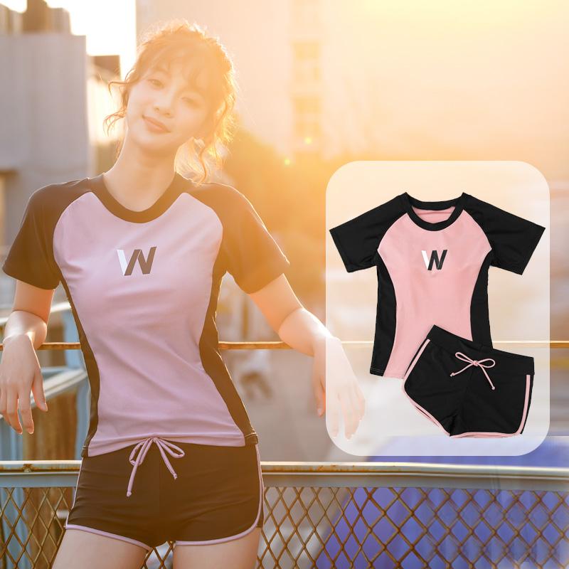 泳衣女保守遮肚显瘦分体式两件套2020年新款韩国ins学生运动泳装
