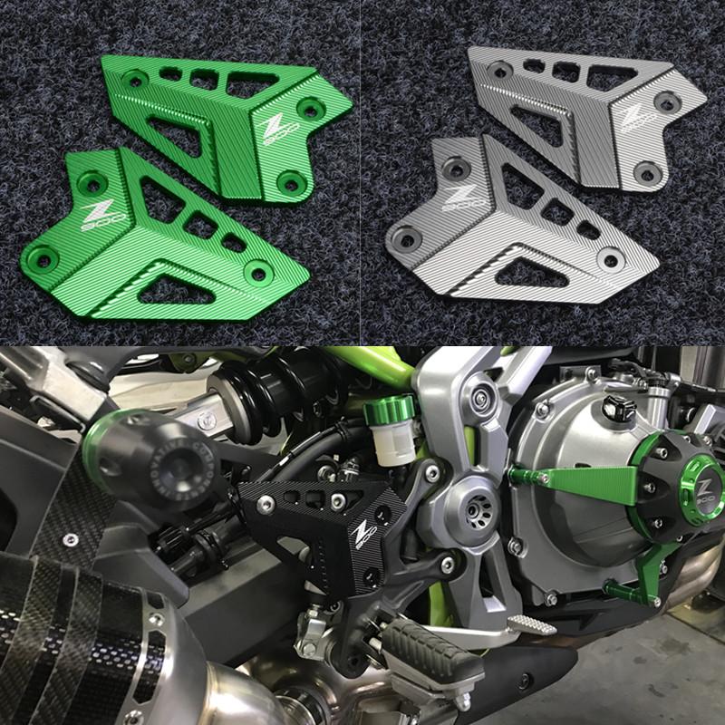 适用川崎 Z900 CNC铝合金改装 后脚踏装饰板保护防摔块摩托车配件